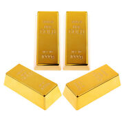4pcs Solid Fake Gold Bar Paper Weight Prop Dress Table Decor Bullion Toy