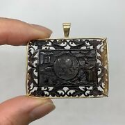 Antique Victorian Chinese Qing 14k Yellow Gold Carved Medallion Pendant Lion