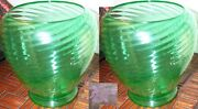 Antique Pair Of Steuben Swirl Vases Green Color,1920's Marked Rare
