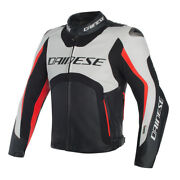 Dainese Misano Leather Jacket D-air White/black/neon Red With Airbag System
