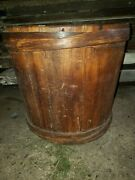 Vintage Wooden Primitive Water Bucket, Rustic, Farm, Well, Feed, Antique Fingerl