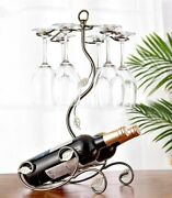 Bottle Holder Iron Wire Maple Leaf Hollow Wine Rack Stand Hanging Glasses Rack