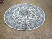10 X 10 Round Hand Knotted Ivory Fine Nain With Silk Oriental Rug G8702