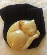 """Vintage Estee Lauder Solid Perfume Napping Cat """"beautiful"""" W/ Pouch"""