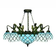 Baroque Blue Stained Glass Lamp Hanging Chandelier Ceiling Pendant Light