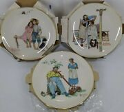 3 Norman Rockwell 1977 Four Seasons Limited Edition Collectors Plates Mint