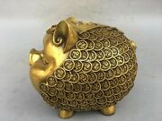 10and039and039 Brass Copper Furniture Decorate Statue Saving Pot Money-box Animal Pig