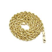 14k Yellow Gold Solid Diamond Cut Rope Chain Necklace 1mm To 5mm Width