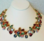 J Crew Crystal Cluster Necklace Multi Color New 17.5 - 19.5