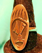 Hopi Sz 10.5 Silver Bear Paw Overlay Ring Collectible Stamped Native American