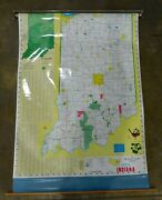 Indiana State Map Pull Down Scroll Wall Map. George F. Cram Company