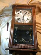 Centurion 35 Day Wooden Wall Clock Case Only Repair Are Parts W/ Pendulum