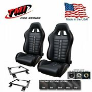 Tmi Pro Series Chicane Sport Xr Racing Seats W/brackets 1966-1977 Charger