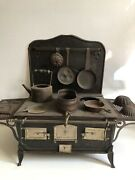Vintage French Doll Children's Ornate Tin Double Steam Oven Stove And Accessories