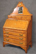 Gorgeous Georgian Style Lineage Leather Wrapped And Embossed Secretary Desk
