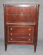 French Directoire Louis Xvi Style Mahogany Tall Dresser W Leather Tray Fitted