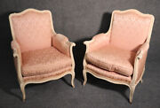 Gorgeous Pair French Louis Xv Creme Paint And Pink Damask Bergere Lounge Chairs