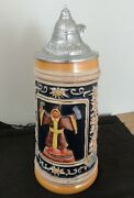Vintage Gertz Beer Stein 11 Tall With Lid Marked On Bottom