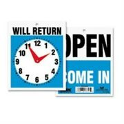 Uss9382 - Reversible Open/will Return Store/business Sign With Clock Hands