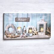 Lighted Nautical Led Wall Art Canvas With On/off Switch - Ready To Hang