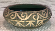Antique 1910s Arts And Crafts Mission Red Wing Brushware Pottery Bulb Bowl Planter