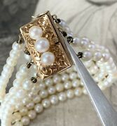 Akoya Pearl 4 Strand Row Bracelet With 14kt Yellow Gold And Pearl Clasp Vintage.