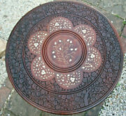 Large Antique Octagonal Anglo/indian Folding Inlaid Wooden Side Table