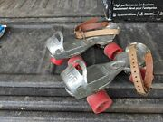 Vintage Union Metal Roller Skates With Red Plastic Wheels