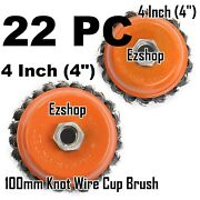 22 Wire Cup Brush 4 100mm For 4-1/2 115mm Angle Grinder Twist Knot Hoteche