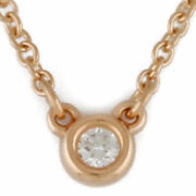 Tiffanyandco. Necklace K18 Pink Gold Diamond 1 Stone Diamond By The Yard From...
