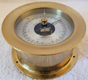Vintage Airguide Instrument Co Chicago Brass Nautical Porthole Aneroid Barometer