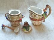 Fitz And Floyd Jolly Ole St. Nick Creamer, Sugar Bowl, Lid And Spoon