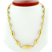 Vintage 21k Gold 18 Graduated Tumbler Shaped Link Bead Chain Toggle Necklace