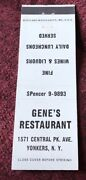 Matchbook Cover Geneandrsquos Restaurant Yonkers New York
