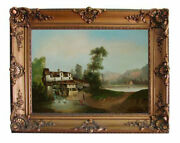 """5172 19th C. Oil On Canvas Painting """"mill House"""" Signed Anton Levy"""