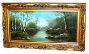 5765 Large Antique 19th C. American Oil On Canvas Landscape Painting