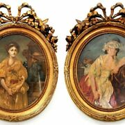 7332 Oil On Canvas, 19th C. Portraits Of Women, A Pair, France 7332