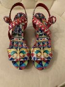 Dolce And Gabbana Shoes Platform Wedge Majolica Leather Sandals 900 38.5 Us 8