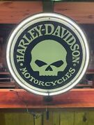 Harley Davidson Motorcycles Willy G 800mm Diameter Neon Sign Perfect Man Cave