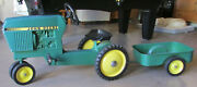 Vintage 1960s Ertl John Deere Model 520 Pedal Tractor With 2 Wheel Trailer