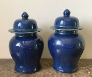 Fine Pair Of Antique 19th Century Chinese Monochrome Blue Glazed Ginger Jars