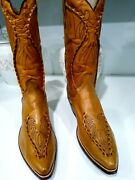 Dan Post Cowboy Western Boots Menand039s Size 10 D Made With Genuine Tooled Leather