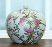 Qing Dynasty Antique Porcelain Chinese Ginger Jar With Peaches, Tongzhi