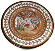 Vintage Tonala Mexican Pottery 15 1/2 Charger Wall Plaque Fantasy Bird Signed