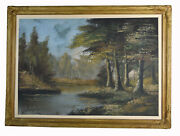 26 Antique Oil Painting Canvas Signed H. Weber Impressionism Forest And Marsh
