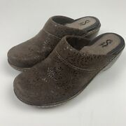 Softwalk Murietta Suede Floral Embossed Leather Mules/clogs 7m Euc