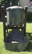 Antique Pewter French Lavabo, Fountain Tank And Sink, Hand Washing Basin, 1700c