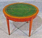 English Adams Paint Decorated Satinwood Leather Top Games Card Table C1820s