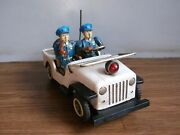Rare Vintage Police Dept Telephone Operator Jeep Tin Toy Of 50's Made In Japan.