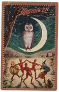 Halloween Postcard. Raphael Tuck And Sons, Series 160. Owl, Witches, Dancing.